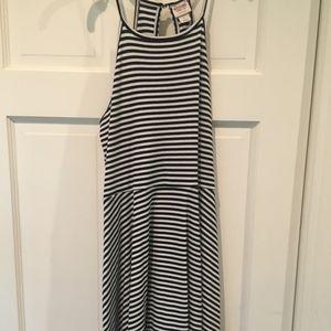 Black and White Striped Halter Dress